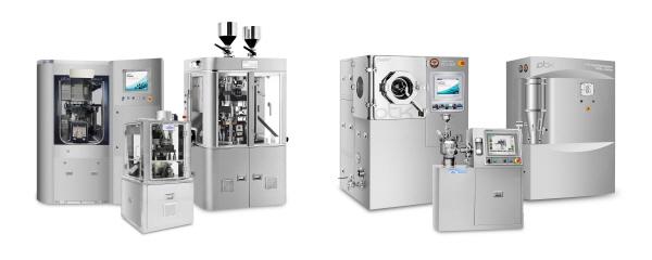 PTK 연구용 장비, 사진 왼쪽부터 'PR-LT(삼중정 정제기)', 'PR-LM(단일정 정제기)', 'PR-1600(이중정 정제기)', 'PC-L300(코팅기)', 'PM-C(믹서기)', 'PFB-L(유동층 시스템)'