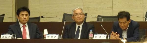 (왼쪽부터)이상헌 교수, 백롱민 교수, 이명규 부회장