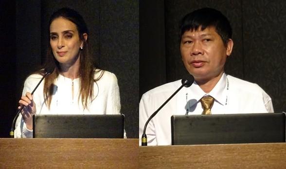 약학교육의 실습강화를 강조한 오스트레일리아 Dalia Bajis 교수(왼쪽)와 베트남 Nguyen Van Hung 교수