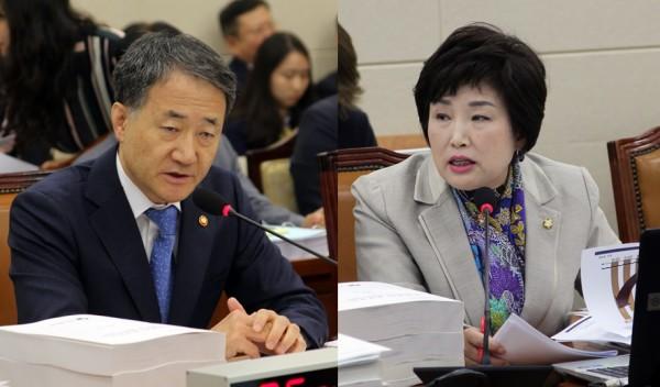 박능후 장관(왼쪽)과 전혜숙 의원