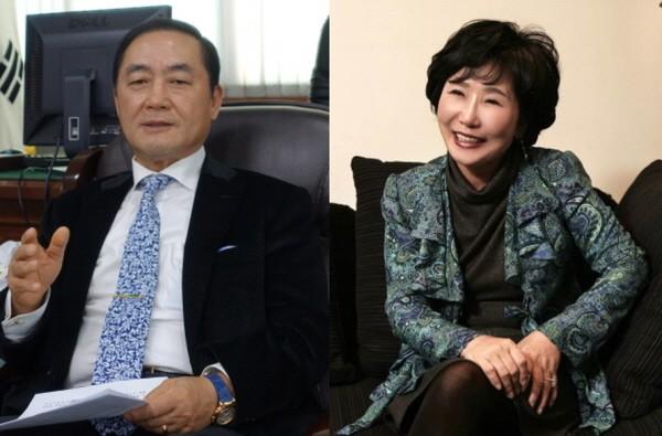 왼쪽부터 한국의약품유통협회장 임맹호 예비후보, 조선혜 예비후보.