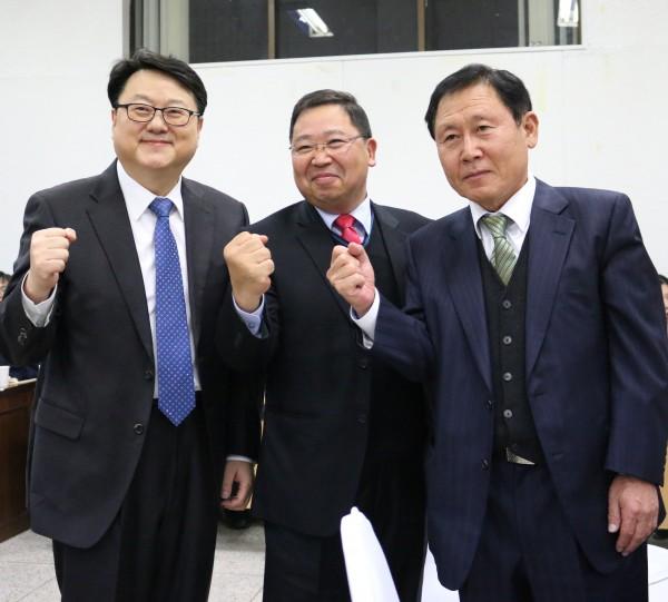 (왼쪽부터)유영필, 이진희, 좌석훈 선대본부장