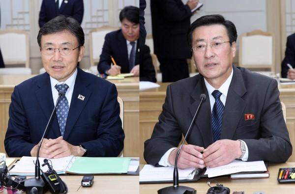 모두발언을 하고 있는 남한 권덕철 복지부 차관(왼쪽)과 북한 박명수 보건성 국가위생검열원장(사진제공: 공동취재단)