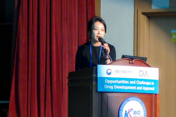 5일 열린 MFDS-DIA 공동 워크숍에서 KWISE 신양미 박사가 발표하고 있다.