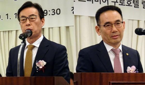 권혁로 전 구로구약사회장(총회의장)(왼쪽)과 김종환 서울시약사회장