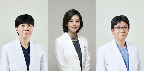 왼쪽부터 응급의학과 이운정 교수, 피부과 김혜성 교수, 대장항문외과 김지훈 교수.