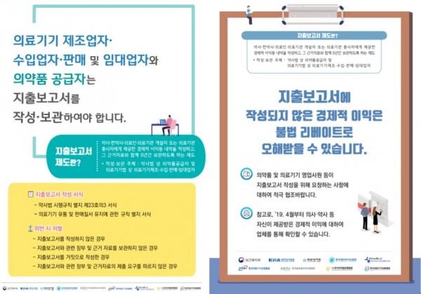 경제적 이익 지출보고서 홍보 포스터, 업계 대상 포스터(왼쪽)와 의약사 대상 포스터