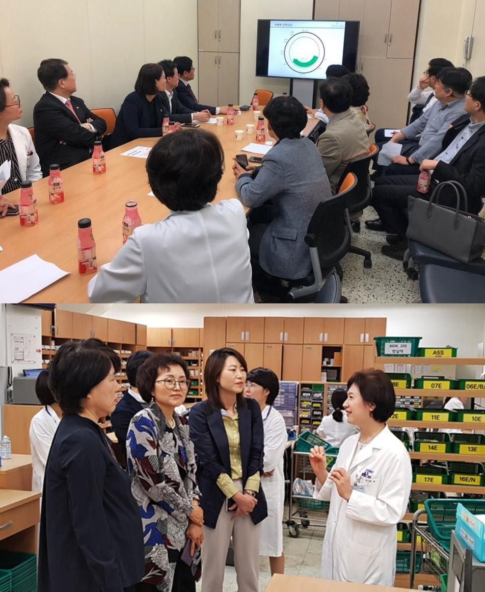 대한약사회 임직원 40여명은 3개조로 나뉘어 서울성모병원(서울 반포), 삼성서울병원(서울 수서), 서울대병원(서울 연건동) 약제부서를 방문했다