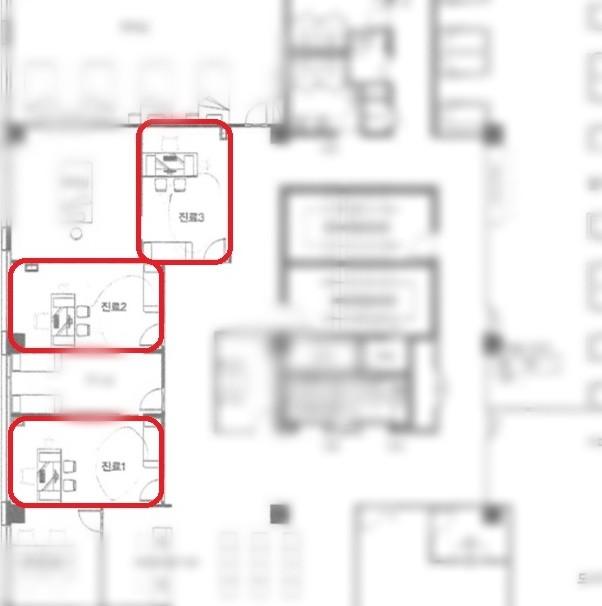 진료실이 포함된 4층 도면. 당초 분양계약과 달리 표시된 진료실이 총 3개였다.