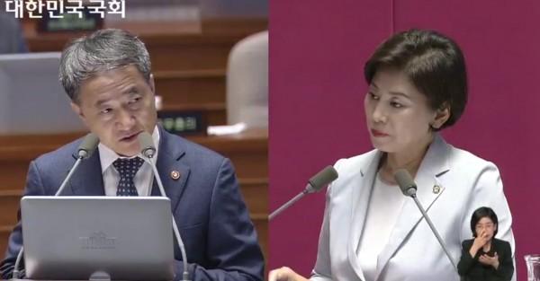 (왼쪽)박능후 장관 (오른쪽) 남인순 의원
