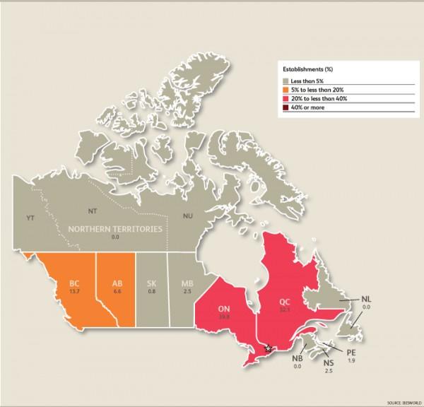 캐나다 제약기업 분포도
