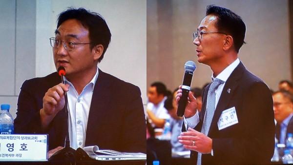 김영호 복지부 과장(왼쪽)과 박구선 오송첨복재단 이사장