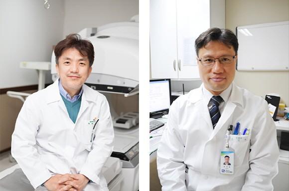 왼쪽부터 가톨릭대 인천성모병원 핵의학과 정용안 교수와 신경과 송인욱 교수.