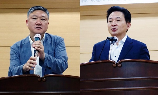 윤석준 단장(왼쪽)과 원희룡 제주도지사