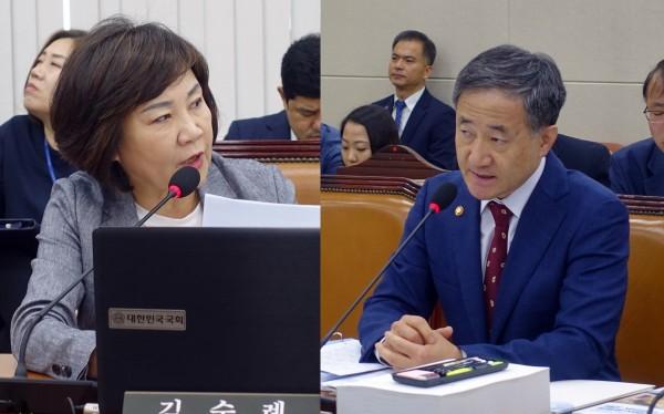 김순례 의원(왼쪽)과 박능후 장관