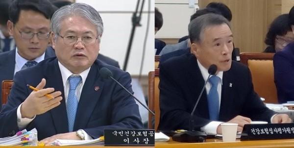 김용익 건보공단 이사장(왼쪽)과 김승택 심평원장