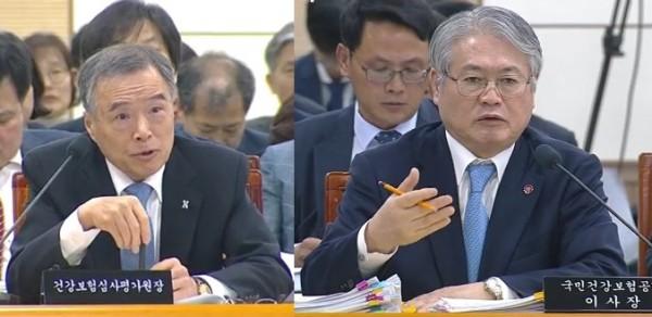 (왼쪽부터) 김승택 심사평가원 원장, 김용익 건보공단 이사장