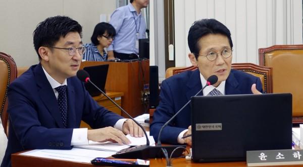 김세연 위원장(왼쪽)과 윤소하 의원