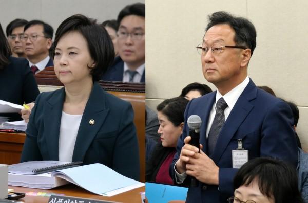 이의경 식약처장(왼쪽)과 이우석 코오롱 대표
