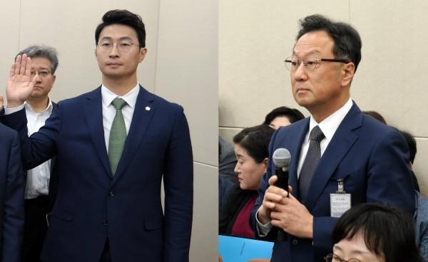 엄태섭 법무법인 오킴스 변호사(왼쪽)와 이우석 코오롱 대표
