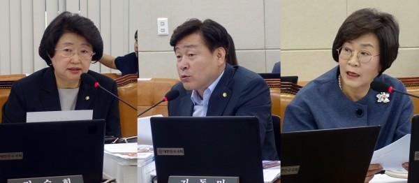 윤리위 제소 관련 복지위원들(왼쪽부터 김승희, 기동민, 김상희 의원)