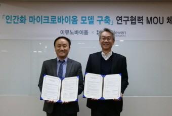 왼쪽부터 임신혁 이뮤노바이옴 대표, 김석진 바이오일레븐 기업부설연구소장.