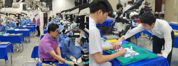 태국 의료진에 수술 술기를 지도하는 방재승(좌), 이시운(우) 교수