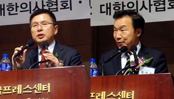 황교안 한국당대표(왼쪽)와 손학교 바른미래당대표