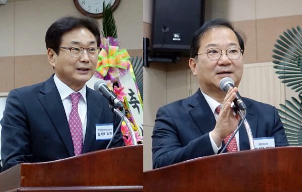 원희목 제약바이오협회장(왼쪽)과 김대업 약사회장