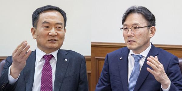 이삼수 연구생산부문 사장(좌)  ▲  안재현 경영부문사장(우)