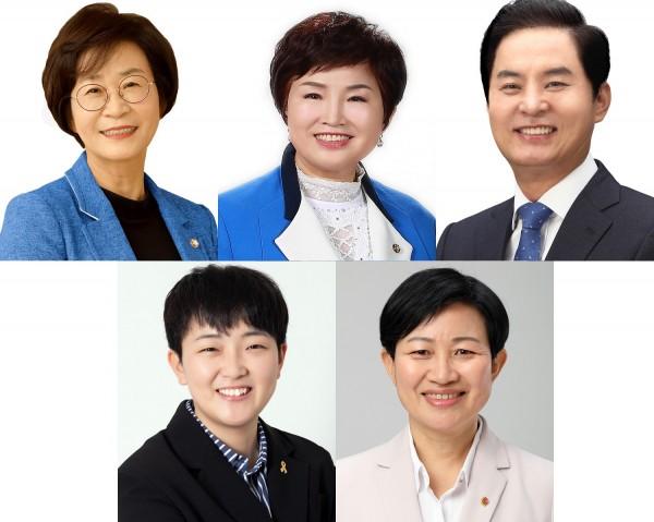 약사 출신 후보들(왼쪽 상단부터 김상희, 전혜숙, 류영진, 정혜연, 김미희)