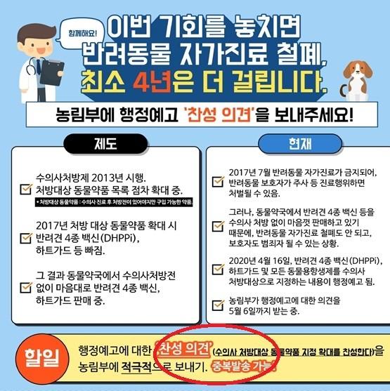 서울시수의사회에서 진행하는 찬성 의견 촉구 안내(중복 발송 가능 강조)