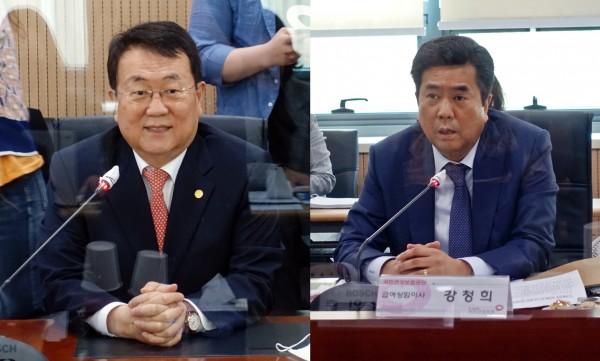 박인춘 약사회 부회장(왼쪽)과 강청희 공단 급여상임이사