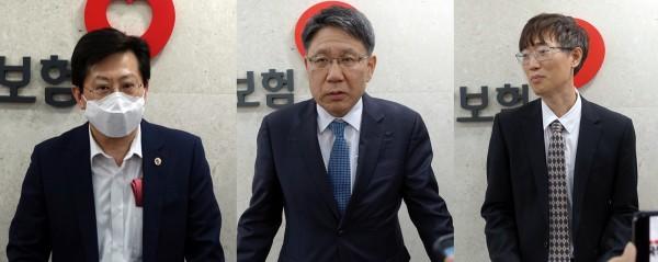 (왼쪽부터)박홍준 의협 부회장, 박재찬 병협 부회장, 권태훈 치협 보험이사