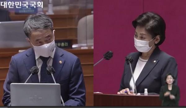 박능후 장관(왼쪽)과 남인순 의원