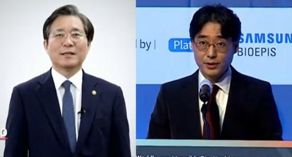 성윤모 장관(왼쪽)과 임종윤 한미사이언스 대표