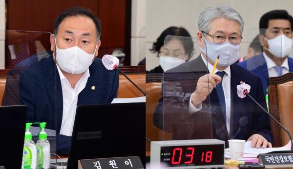 김원이 의원(왼쪽)과 김용익 이사장(국회 전문기자협의회 사진 제공))