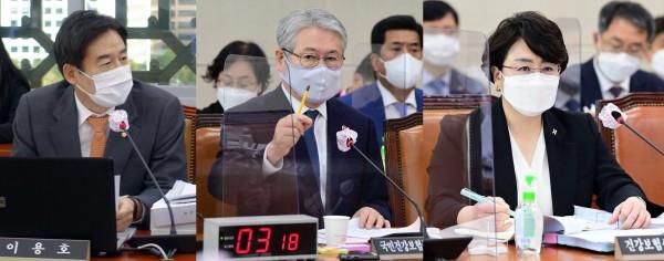 (왼쪽부터)김용호 의원, 김용익 이사장, 김선민 원장(국회 전문기자협의회 사진 제공)