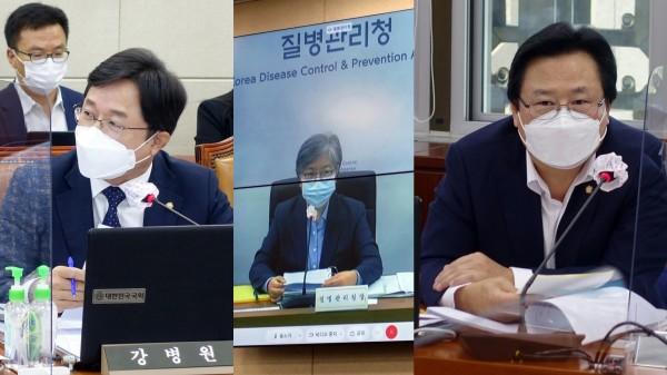 (왼쪽부터)강병원 의원, 정은경 청장, 강기윤 의원(국회 전문기자협의회 사진 제공)