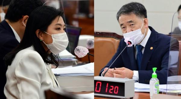 신현영 의원(왼쪽)과 박능후 장관(국회 전문기자협의회 사진 제공)
