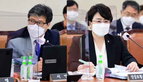 서영석 의원(왼쪽)과 김선민 심평원장(국회 전문기자협의회 사진 제공)
