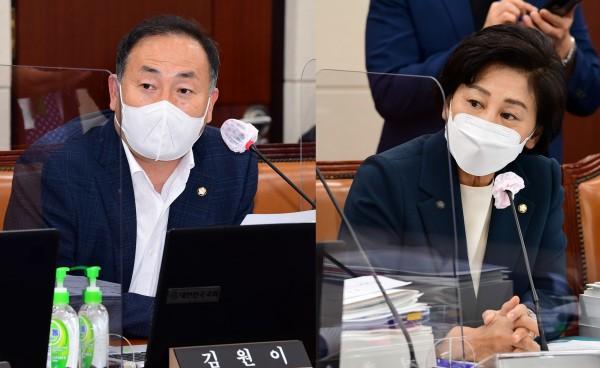 김원이 의원(왼쪽)과 남인순 의원(국회 전문기자협의회 사진 제공)