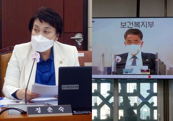 정춘숙 위원(왼쪽)과 박능후 장관(국회 전문기자협의회 사진 제공)