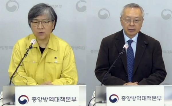 10월 24일 브리핑. 정은경 질병관리청장(왼쪽)과 김중곤 예방접종피해조사반장