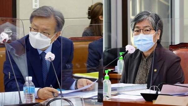 권칠승 의원(왼쪽)과 정은경 청장(국회 전문기자협의회 사진 제공)