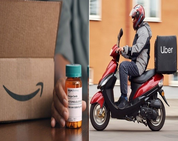 아마존 파마시(왼쪽)과 우버 배송(출처: 각사 홈페이지)