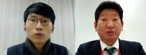 이동근 건약 사무국장(왼쪽)과 김윤호 제약특허연구회장