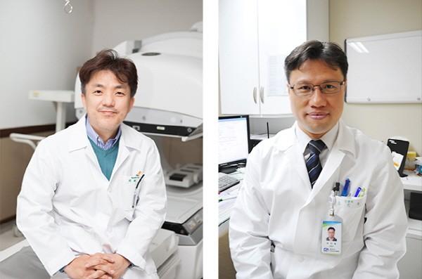왼쪽부터 가톨릭대 인천성모병원 핵의학과 정용안 교수, 신경과 송인욱 교수.