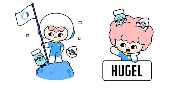 휴젤 캐릭터 3종 허그(Hug), 알루(Alu), 렉스(Lax).