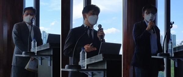 (왼쪽부터)강대희 서울대 의대 교수와 오동욱 한국글로벌의약산업협회장, 홍기종 건국대 교수가 발표하고 있다.